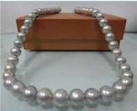 Stunning AAA 9-10mm south sea white Pearl Necklace 20 inch 14K GOLD CLASP