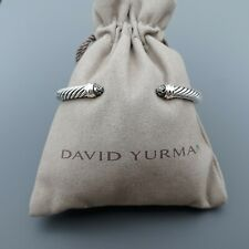 David Yurman Sterling Silver 5mm Cable Classic Bracelet Black Diamond size M