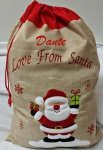 Personalised Christmas Santa Embroidered Name Gift sack Large Jute Stocking Red