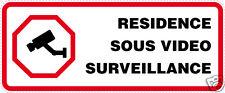 Autocollant porte portail maison résidence vidéo surveillance 2 ex [10 x 4 cm]