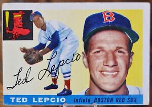 1955 Topps Baseball Card, #128 Ted Lepcio, Boston Red Sox - VG