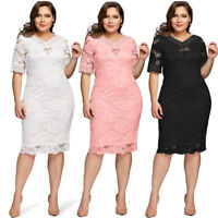 Plus Size XL-5XL Women Lace V Neck Half Sleeve Cocktail Evening Party Midi Dress
