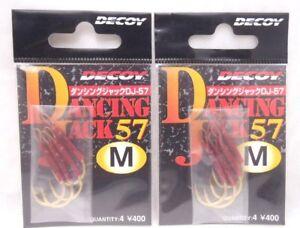 2pks Decoy Jigging Single Dancing Jack 57 fishing jig hooks Size M 4pc/pk