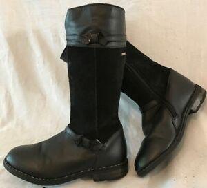 Girls Start-Rite Black Leather Lovely Boots Size 13F (300vv)
