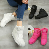 Womens Comfy Hidden Wedge Heels High Top Sport Shoes Lace Up Solid Sneakers  Sz