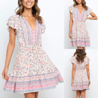 Womens Loose Boho Floral V Neck Midi Dress Ladies Summer Ruffle Sleeve Dresses