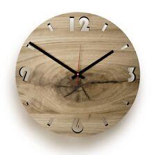 Wanduhr Designerwanduhr Uhr EICHE RUND Holz Echtholz Quarzuhrwerk leise natur