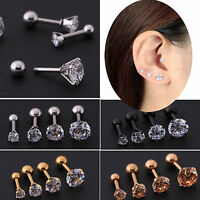 2Pcs CZ Prong Tragus Cartilage Piercing Stud Earring Ear Ring Stainless Steel
