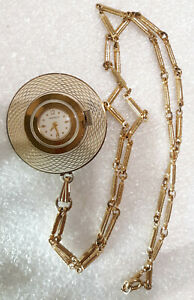 Vintage Wind Up Caravelle Watch, MCM,  Works, Gold tone Chain link Necklace