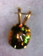 Mystic Topaz Solitaire Pendant, 14kt Gold-Mango color