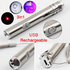 3 in1 Mini Stainless Steel USB Rechargeable LED Laser&UV Torch Pen&Flashlight