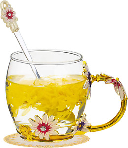 Enamels Butterfly Flower Clear Lead-Free Glass Coffee Mugs Tea Cup with Delicate