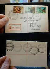 Papua New Guinea 1974 three frank A/M Reg cover Minu, backstamps (52bee)