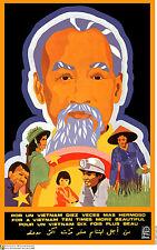 Political cuban POSTER.Ho Chi Minh.VIETNAM.Asia 20.Revolution Art Design