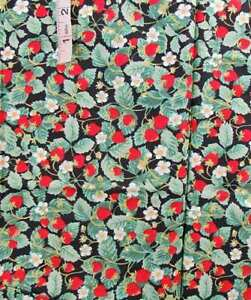 Red Strawberry,Green Leaf Print,Black Cotton Fabric 'Fruit Market' by Hoffman