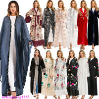Dubai Abaya Women Kimono Long Dress Muslim Open Kaftan Jilbab Islamic Robe Gown