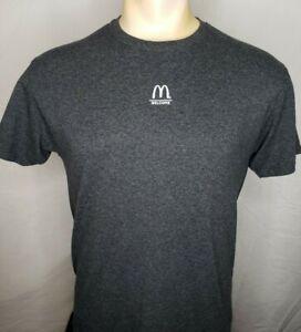 """McDonalds Logo """"Welcome"""" Gray M T-Shirt Employee Uniform EUC"""