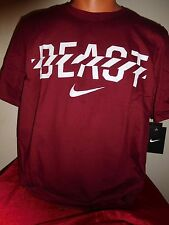 "NIKE ""SWOOSH BEAST"" ATHLETIC TRAINING GYM FITNESS CRIMSON MAROON T-SHIRT MEDIUM"