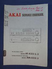 AKAI AT-K33 TUNER  AM-U33 INTEGRATED AMP SERVICE  MANUAL FACTORY ORIGINAL  v2