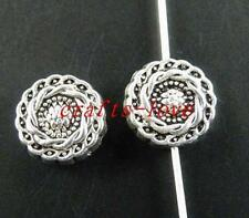 80 Tibet Silver Twisted Circle Flat Spacers 10x4.5mm zn28081