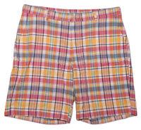 BILLS KHAKIS Flat Front Chino Shorts Pink Orange Plaid Made in USA ~ Size 38
