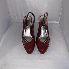 ❤️White House Black Market Red 7 T-Strap Heel Stilletos Shoes -WW