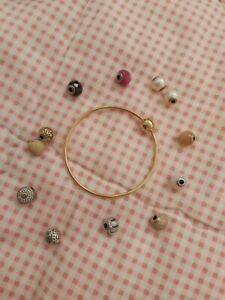 Authentic Pandora 14k Yellow Gold Bangle Bracelet & Gold Silver Essence Charms