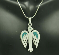 Bird Pendant Snake Link Necklace-20 Mexico Sterling Silver/925 Inlayed Turquoise