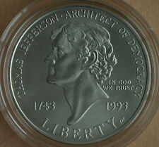 1993 Thomas Jefferson 250th BU Silver Dollar Commemorative US Mint Coin ONLY $1