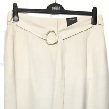 M&S Marks £50 22R Autograph Luxe Ivory Linen Mix Belted Wide Leg Trousers BNWT