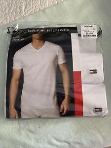 Tommy Hilfiger Men's 2 Pack Classic V-Neck T-Shirts White Size Large