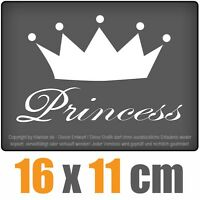 Princess  16 x 11 cm, JDM Decal Sticker Auto Car Weiß Scheibenaufkleber