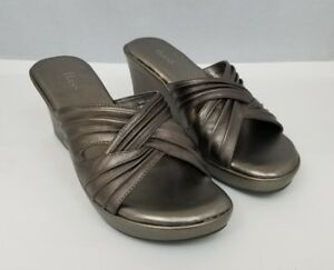 "Bass Womens Wedge Sandals Size 6M Bronze Debra Leather Upper 3"" Heel Slip On"