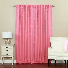 """Star Print Thermal Insulated Blackout Curtains - Back Tab/ Rod Pink - 52""""W x 84"""""""