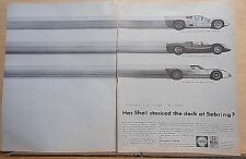 1966 two page magazine ad for Shell- Chaparral D2, Ferrari 330P3, Ford Mark II