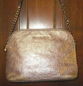 Michael Kors Cindy Large Gold Metallic Crossbody Handbag AA0926 Great Condition!