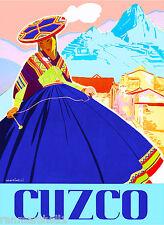 Peru Incas Machu Picchu Cusco South America Vintage Travel Poster Advertisement