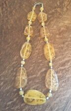Vintage Bobble Bead Necklace/Retro Style/Yellow/Chunky/Marbled Plastic