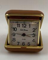 Vintage Seth Thomas 3805 Travatour 40 Hour Travel Alarm Clock Tan Case Untested