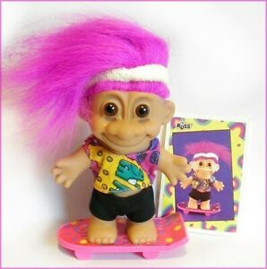 SKATEBOARD TROLL BOY Russ SKATEBOARDER Fucshia SKATER BOY Hair NEW & Topps Card