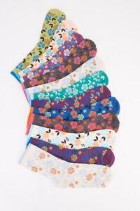 Ladies 12 Pairs of Various Multi-Coloured Rose/Floral Print Socks...Size 3-7