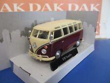Volkswagen VW T1 Samba Bus Rosso Scuro/bianco Crema 1 43 Cararama