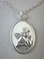 "Cherub Guardian Angel Medal White Enamel Italy Pendant Necklace 20"" Chain"