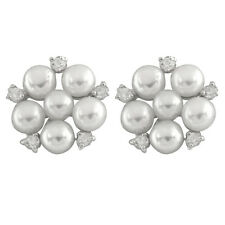 Fancy sterling silver rhodium plated earrings 3-5mm freshwater pearls ESR-231