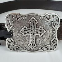 Silver CROSS Buckle NOCONA Brown Scroll-Tooled LEATHER Western BELT Size Large