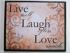 Live Well Laugh Often Love Much elegant wall decor plaque coral color picture
