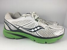 Saucony ProGrid Mirage Women US 8.5 Green Gray + White Athletic Running Shoes