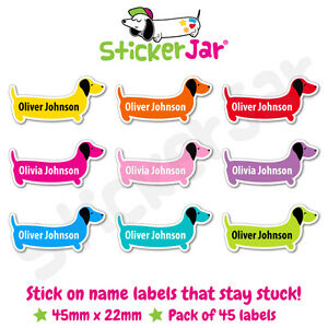 45 Personalised Stick On Name Labels Stickers School Kids Sausage Dog Shape NL10