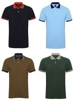 Men's Contrast Plain Polo T Shirts Short Sleeve Navy Green Olive Sky Blue