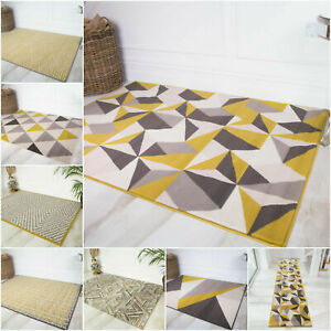 Yellow Modern Soft Quality Geometric Rugs Small Large XL Cheap Affordable Mats